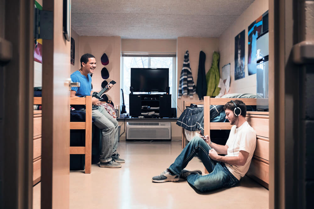 students in dorm listening to music