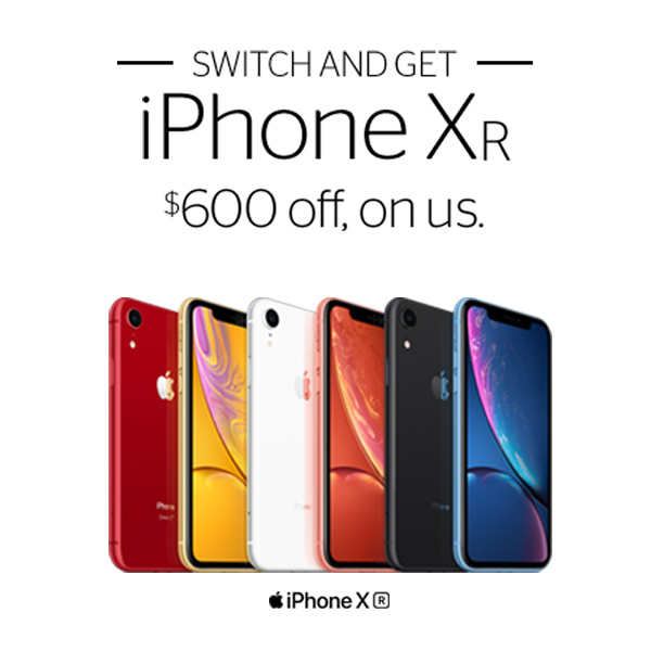 Switch and Get iPhone XR $600 off on us when you switch