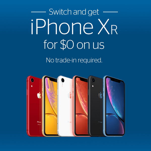 Switch and get iPhone XR for $0 on us.  No trade-in required. iPhone XR images - red, yellow, white, coral, black, blue