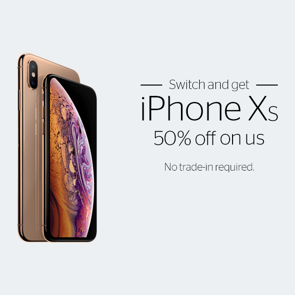 Switch and get iPhone XS 50% off on us. No trade-in required. iPhone XS gold phone