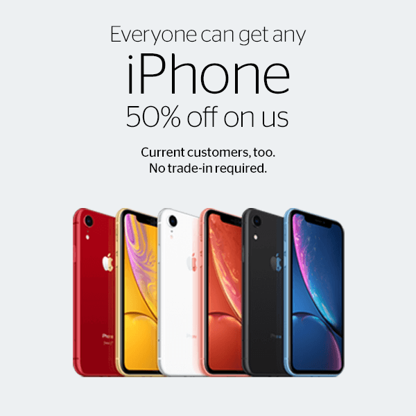 Everyone can get any iPhone 50% off on us. Current customers, too. No trade-in required. iPhone XR images